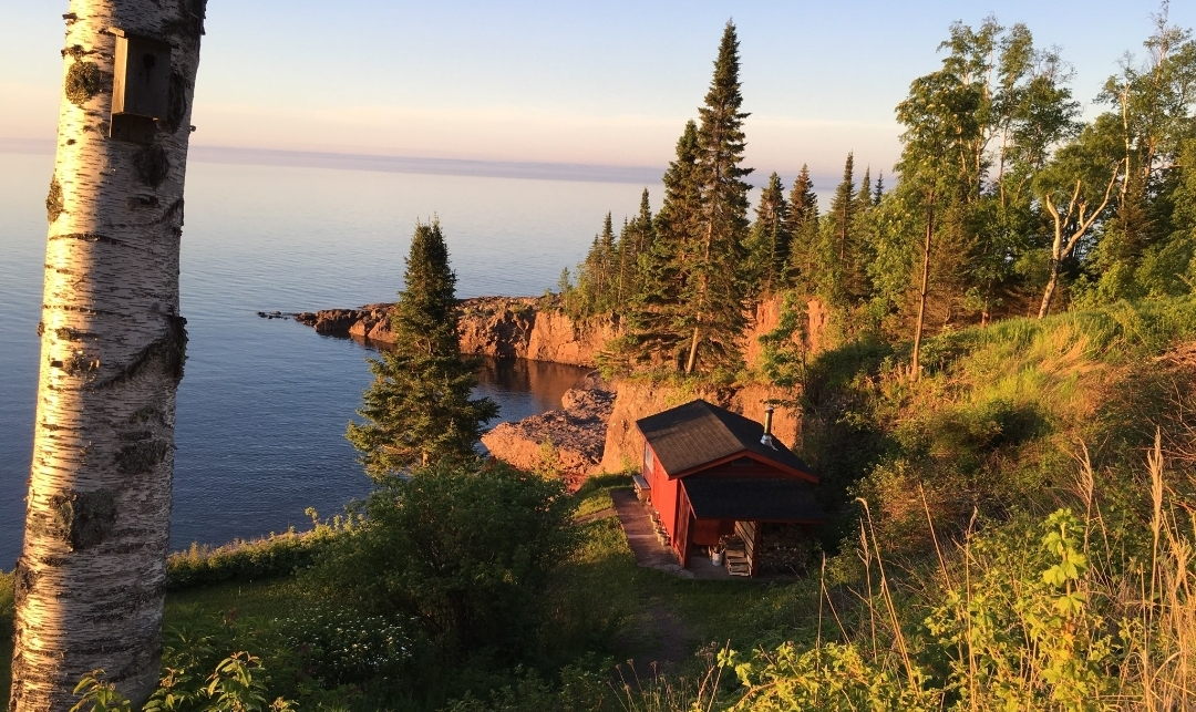 Summer time Cobblestone sauna overlooking Lake Superior, early morning.