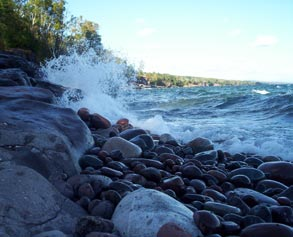 Lake Superior Waves and cobbles